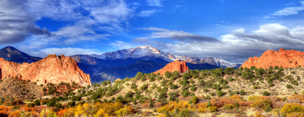 Pikes Peak through the Garden of the Gods Gateway - Fall 2012